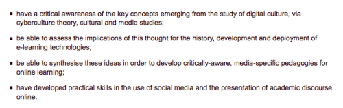 EDUA11149 course objectives... a bit fuzzy, but you get it.