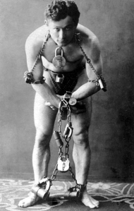 Harry Houdini--all tied up.